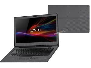 """Decalrus  - Sony Vaio Fit 14A Flip """"FLIP"""" with 14"""" TOUCHScreen screen Full Body GREYTexture Carbon Fiber skin skins decal for case cover wrap CFVaioFlip14AGrey"""