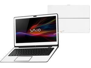 """Decalrus  - Sony Vaio Fit 14A Flip """"FLIP"""" with 14"""" TOUCHScreen screen Full Body WHITE Texture Carbon Fiber skin skins decal for case cover wrap CFVaioFlip14AWhite"""