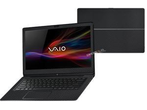 """Decalrus  - Sony Vaio Fit 14A Flip """"FLIP"""" with 14"""" TOUCHScreen screen Full Body BLACK Texture Carbon Fiber skin skins decal for case cover wrap CFVaioFlip14ABlack"""