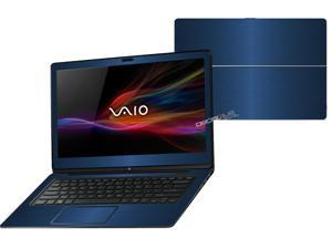 """Decalrus  - Sony Vaio Fit 14A Flip """"FLIP"""" with 14"""" TOUCHScreen screen Full Body BLUE Texture Brushed Aluminum skin skins decal for case cover wrap BAVaioFlip14ABlue"""