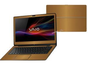 "Decalrus  - Sony Vaio Fit 14A Flip ""FLIP"" with 14"" TOUCHScreen screen Full Body GOLD Texture Brushed Aluminum skin skins decal for case cover wrap BAVaioFlip14AGold"