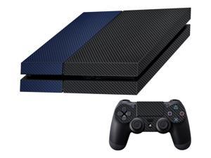 Decalrus  - Sony Playstation PS4 FULL BODY  BLACK & BLUE Texture Carbon Fiber skin skins decal for case cover wrap CFps4BlackBlue