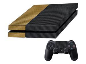 Decalrus  - Sony Playstation PS4 FULL BODY  BLACK & GOLD Texture Carbon Fiber skin skins decal for case cover wrap CFps4BlackGold