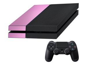 Decalrus  - Sony Playstation PS4 FULL BODY  BLACK & Pink Texture Carbon Fiber skin skins decal for case cover wrap CFps4BlackPink