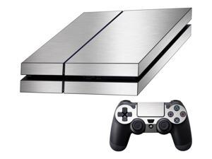 Decalrus  - Sony Playstation PS4 FULL BODY  SILVER Texture Brushed Aluminum skin skins decal for case cover wrap BAps4Silver