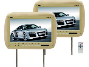 "New Pair Tview T110pl 11.2"" Tan Car Headrest Widescreen Lcd Monitors W/ Remotes"