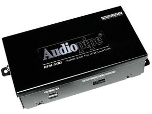 NEW AUDIOPIPE RFM500 FM MODULATOR 2 CH ON/OFF SWITCH ADJUSTABLE OUTPUT LEVEL