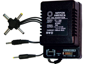 NEW NIPPON DV1000 AC/DC 1000mA POWER ADAPTER 6 WAY UNIVERSAL PLUG