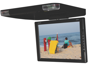 """Legacy - 14"""" TFT Flip Down Roof Mount Monitor w/ Built-In DVD/MP3/MP4  Compatible Player w/ Wireless FM Modulator & IR Transmitter"""