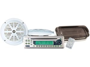 Pyle - Waterproof Marine CD/MP3 Player Receiver w/5.25'' Speakers & Splash Proof Radio Cover