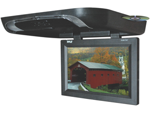 Pyle - 17'' Flip Down Monitor w/ Built in DVD/ SD/ USB Player w/ Wireless FM Modulator & IR Transmitter