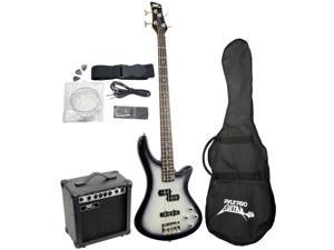 New Pyle Pgekt50 Professional Electric 4 String Bass Guitar With Amplifier Amp