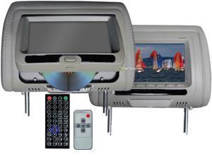 "New Pair Tview T737dvpl-Gr 7"" Headrest Monitors Car Video Headrest Monitors Grey"