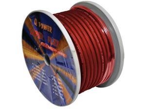New Q-Power 4G100rd 4 Ga Gauge 100' Spool Red Translucent Power Wire