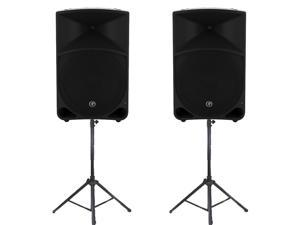 "Mackie THUMP15 Powered 15"" Loudspeaker Pair 2000 Watt Bi-Amped Active Speakers and Stands THUMP15SET3"