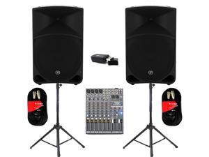 "Mackie THUMP15 Powered 15"" Speaker Pair 2000W Bi-Amped with Bluetooth Mixer Stands and Cables THUMP15SET5B"
