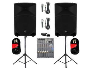 "Mackie THUMP15 Powered 15"" Speaker Pair 2000W Bi-Amped with Bluetooth Mixer Mics Stands and Cables THUMP15SET7B"