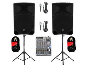 "Mackie THUMP15 Powered 15"" Loudspeaker Pair 2000 Watt Bi-Amped with Mixer Mics Stands and Cables THUMP15SET7"