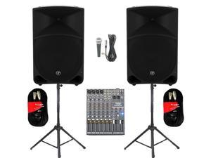 "Mackie THUMP15 Powered 15"" Loudspeaker Pair 2000 Watt Bi-Amped with Mixer Mic Stands and Cables THUMP15SET6"