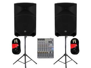 "Mackie THUMP15 Powered 15"" Loudspeaker Pair 2000 Watt Bi-Amped with Mixer Stands and Cables THUMP15SET5"
