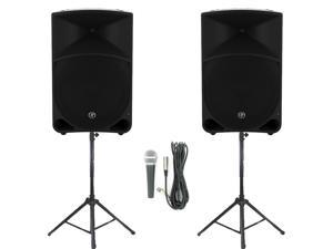 "Mackie THUMP15 Powered 15"" Loudspeaker Pair 2000 Watt Bi-Amped Active Speakers with Mic and Stands THUMP15SET4"