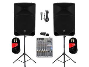 "Mackie THUMP15 Powered 15"" Speaker Pair 2000W Bi-Amped with Bluetooth Mixer Mic Stands and Cables THUMP15SET6B"