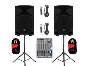 "Mackie THUMP12 Powered 12"" Loudspeakers Mixer Mics Cables and Stands 2000 Watts THUMP12SET7"