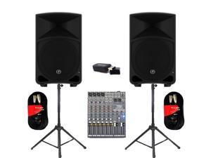 "Mackie THUMP12 Powered 12"" Loudspeakers Bluetooth Mixer Cables and Stands 2000 Watts THUMP12SET5B"