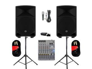 "Mackie THUMP12 Powered 12"" Loudspeakers Bluetooth Mixer Mic Cables and Stands 2000 Watts THUMP12SET6B"