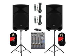 "Mackie THUMP12 Powered 12"" Loudspeakers Bluetooth Mixer Mics Cables and Stands 2000 Watts THUMP12SET7B"