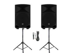 "Mackie THUMP12 Powered 12"" Loudspeakers Mic and Stands 2000 Watt Bi-Amped Active Speakers THUMP12SET4"