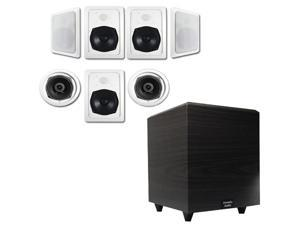 """Acoustic Audio HT-57 In-Wall/Ceiling 7.1 Home Theater Speakers and 12"""" Powered Sub HT-57-PS12"""