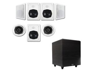 """Acoustic Audio HT-57 In-Wall/Ceiling 7.1 Home Theater Speakers and 6.5"""" Powered Sub HT-57-RW6"""