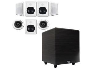 """Acoustic Audio HT-57 In-Wall/Ceiling 7.1 Home Theater Speakers and 15"""" Powered Sub HT-57-PS15"""