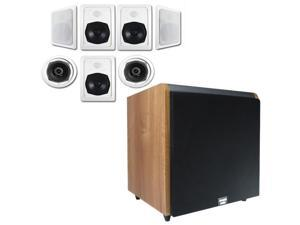 """Acoustic Audio HT-57 In-Wall/Ceiling 7.1 Home Theater Speakers and 15"""" Powered Sub HT-57-HD15M"""