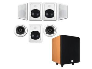 """Acoustic Audio HT-57 In-Wall/Ceiling 7.1 Home Theater Speakers and 6.5"""" Powered Sub HT-57-CS65C"""