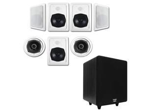 "Acoustic Audio HT-57 In-Wall/Ceiling 7.1 Home Theater Speakers and 6.5"" Powered Sub HT-57-CS65B"