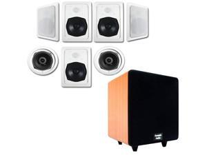 """Acoustic Audio HT-57 In-Wall/Ceiling 7.1 Home Theater Speakers and 8"""" Powered Sub HT-57-CS8C"""
