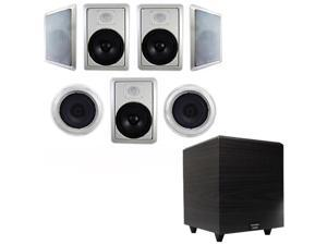 "Acoustic Audio HT-87 In-Wall/Ceiling 7.1 Home Theater 8"" Speakers and 6.5"" Powered Sub HT-87-PS6"