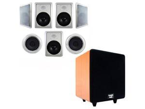 "Acoustic Audio HT-87 In-Wall/Ceiling 7.1 Home Theater 8"" Speakers and 8"" Powered Sub HT-87-CS8C"