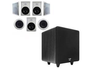 """Acoustic Audio HT-87 In-Wall/Ceiling 7.1 Home Theater 8"""" Speakers and 12"""" Powered Sub HT-87-CS12B"""