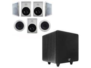 """Acoustic Audio HT-87 In-Wall/Ceiling 7.1 Home Theater 8"""" Speakers and 10"""" Powered Sub HT-87-CS10B"""