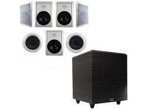 """Acoustic Audio HT-87 In-Wall/Ceiling 7.1 Home Theater 8"""" Speakers and 12"""" Powered Sub HT-87-PS12"""