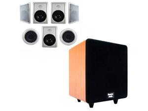 """Acoustic Audio HT-87 In-Wall/Ceiling 7.1 Home Theater 8"""" Speakers and 12"""" Powered Sub HT-87-CS12C"""