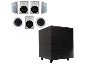 """Acoustic Audio HT-87 In-Wall/Ceiling 7.1 Home Theater 8"""" Speakers and 15"""" Powered Sub HT-87-PS15"""