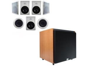 "Acoustic Audio HT-87 In-Wall/Ceiling 7.1 Home Theater 8"" Speakers and 12"" Powered Sub HT-87-HD12C"
