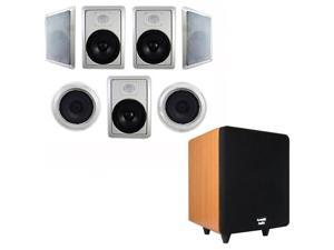 """Acoustic Audio HT-87 In-Wall/Ceiling 7.1 Home Theater 8"""" Speakers and 6.5"""" Powered Sub HT-87-CS65C"""