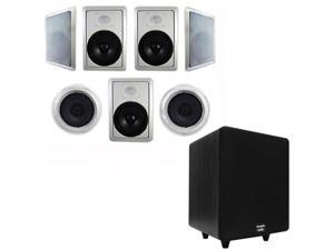 """Acoustic Audio HT-87 In-Wall/Ceiling 7.1 Home Theater 8"""" Speakers and 6.5"""" Powered Sub HT-87-CS65B"""