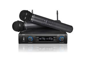 Technical Pro WM852 Dual Wireless Microphone System UHF with Two Deluxe Mics and Carrying Case