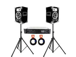 Acoustic Audio GX-400 Speakers, Amp, Stands and Cables DJ PA Karaoke 1200 Watts 2 Way GX-400-PK4
